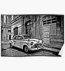 Vintage Car Graphic Novel Style Poster