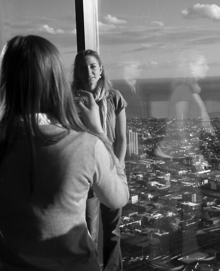 Two Girls at Eureka Tower by Andrew  Makowiecki