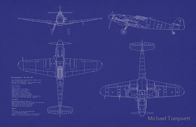 Messerschmitt me109 blueprint posters by michael tompsett redbubble messerschmitt me109 blueprint by michael tompsett malvernweather Image collections