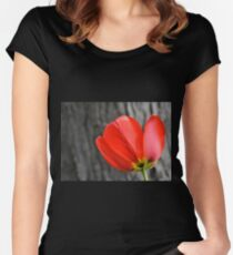 Varigated Red Tulip Petals Women's Fitted Scoop T-Shirt