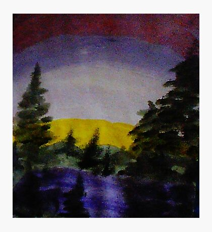 Sunset over the pines, watercolor Photographic Print
