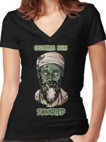 Osama Bin Zombied Women's Fitted V-Neck T-Shirt