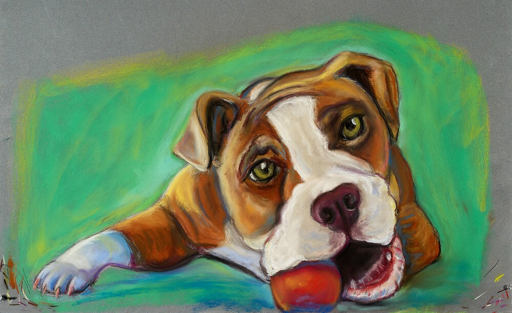 Bulldog with Red Ball by Ann Marie Hoff