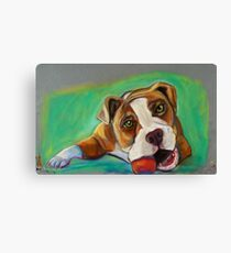 Bulldog with Red Ball Canvas Print