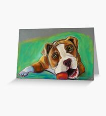 Bulldog with Red Ball Greeting Card