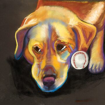 Golden Lab with Baseball by Annimalloverf