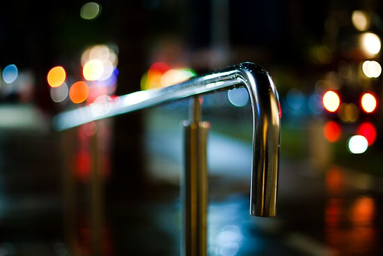 handrail at night by Victor Bezrukov