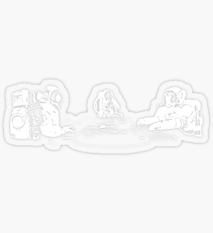 Poker Playing Astronauts Transparent Sticker