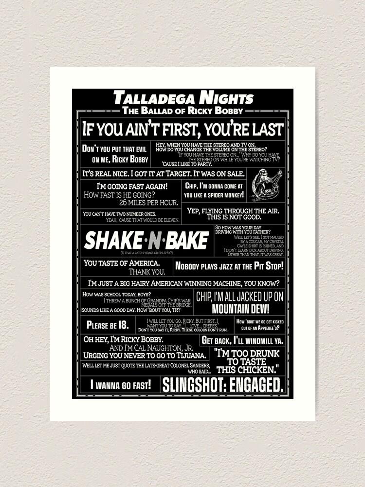Talladega Nights - Quote Collage | Art Print