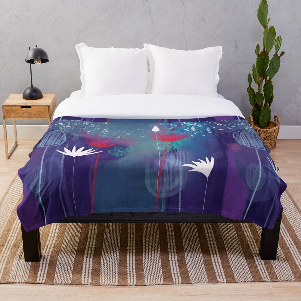 The Midnight Flowers Throw Blanket