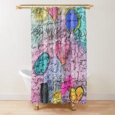 Asemic Hearts Shower Curtain