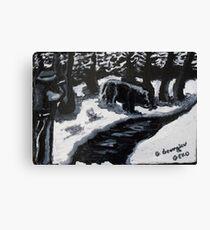 Wild hog hunting Canvas Print