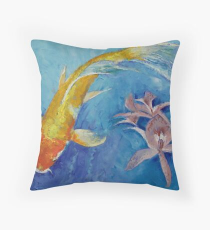 Butterfly Koi with Orchids Throw Pillow