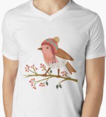 Winter Robin V-Neck T-Shirt