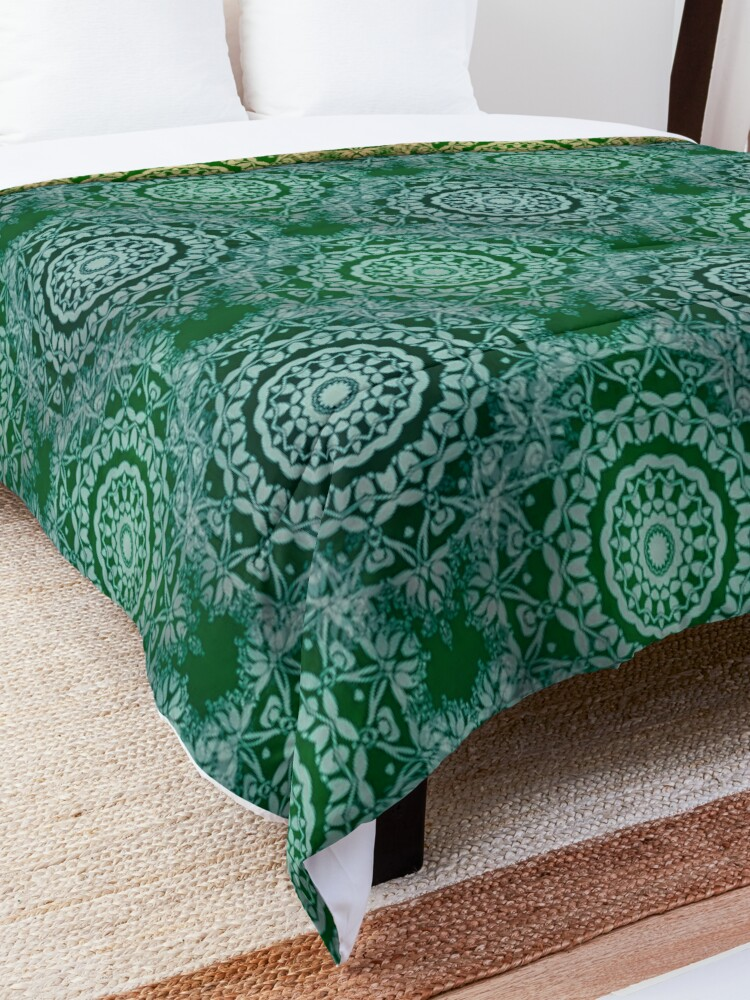 Alternate view of Gold Mandala for Truth and Enlightenment Green Comforter