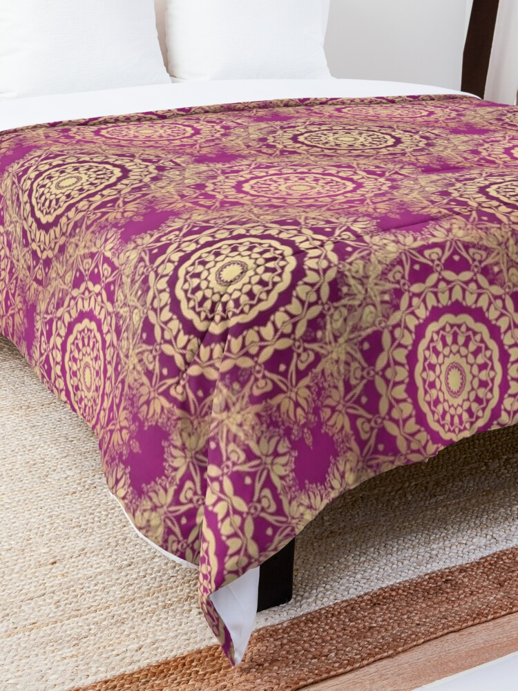Alternate view of Gold Mandala for Love and Compassion Purple Comforter