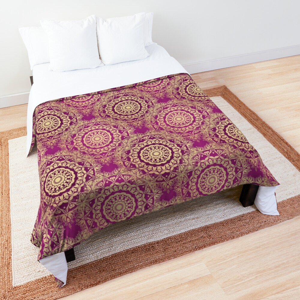 Gold Mandala for Love and Compassion Purple Comforter