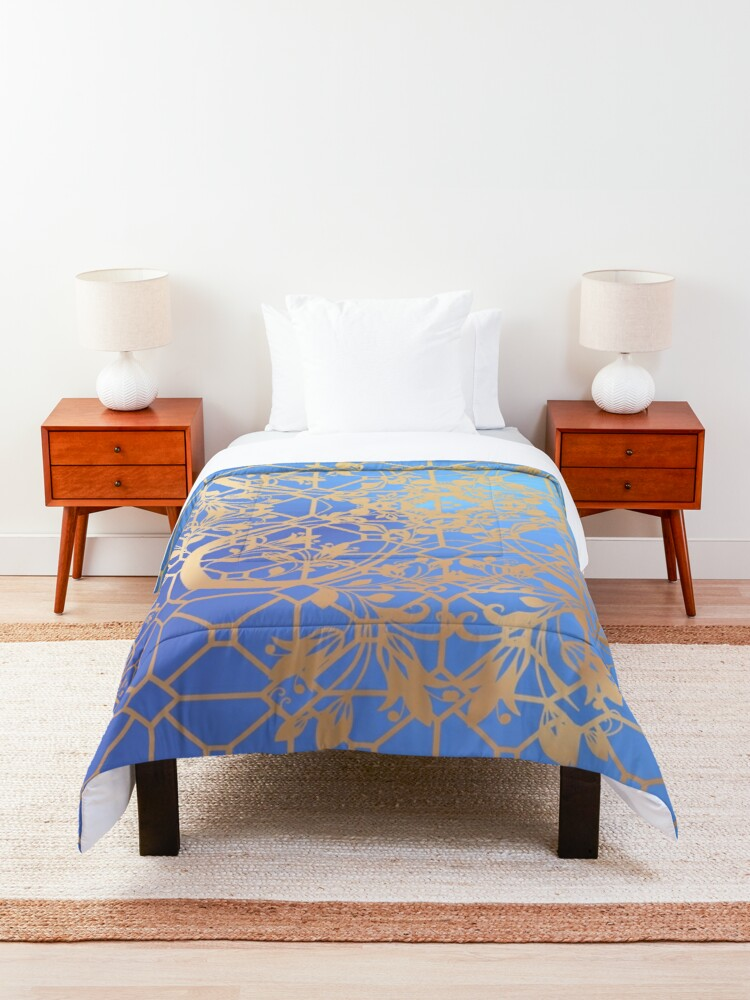 Alternate view of Gold  Filigree and Lace on Blue Comforter