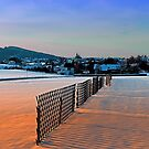 Fences, evening sun and the village | landscape photography by Patrick Jobst
