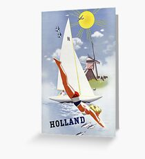 Holland Vintage Travel Poster Restored Greeting Card