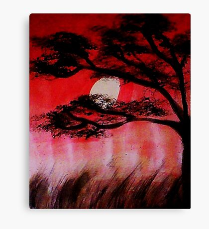 Moon shining thru the tree, watercolor Canvas Print