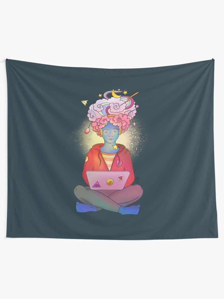 Alternate view of Brainstorming colorful illustration Tapestry