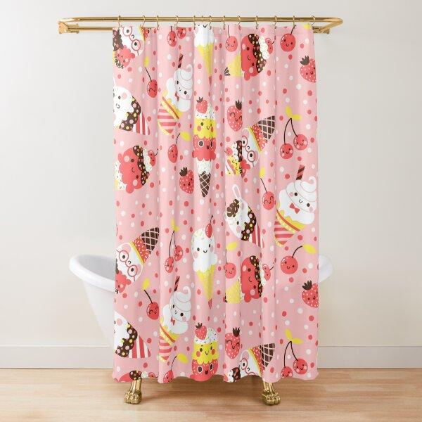 Summer Ice Cream In Pink   Shower Curtain