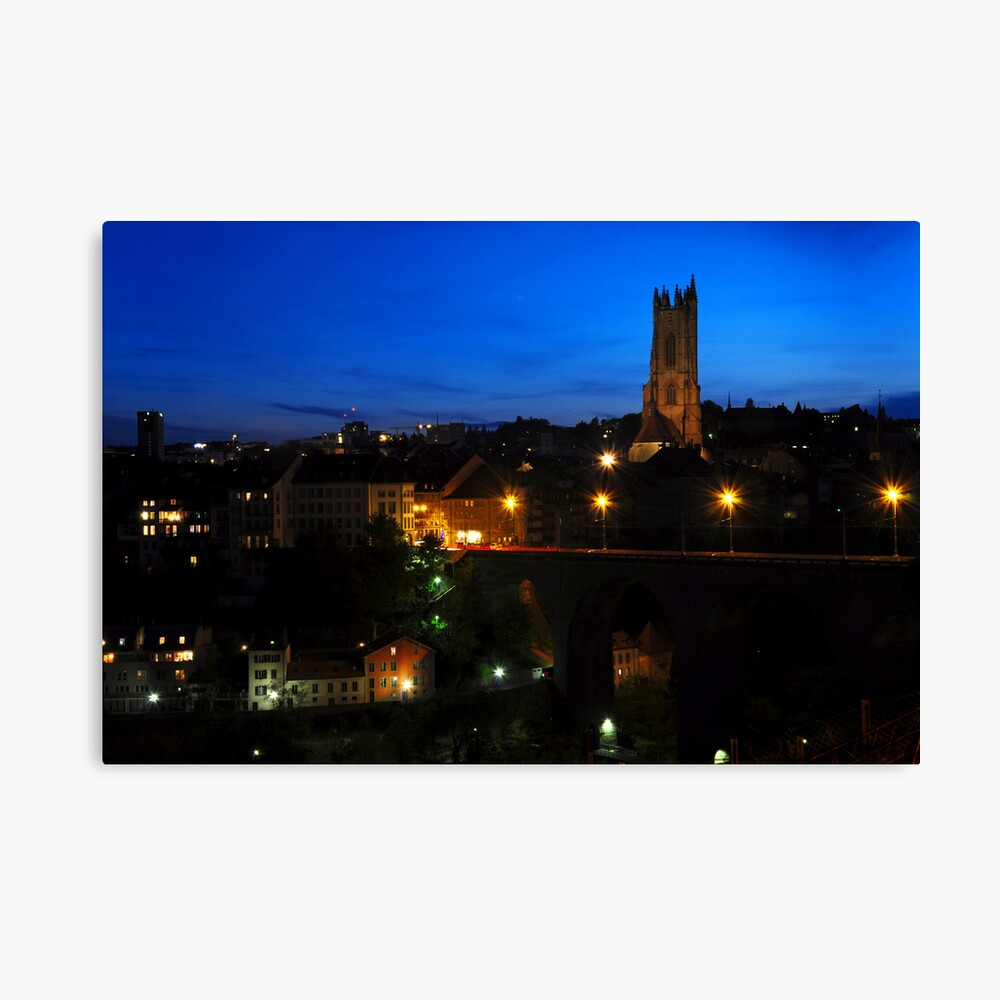 Fribourg by night Canvas Print