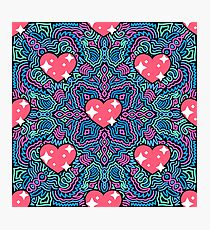 Hearts on Blue and Pink Joypixels World Emoji Day Photographic Print