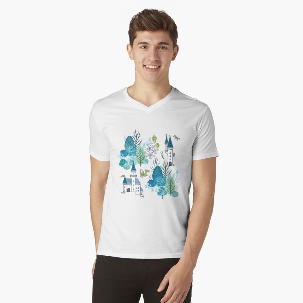 Fairy tale woods blue V-Neck T-Shirt