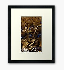 Abstract: Golden Brown with Blue  Framed Print