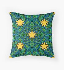 Stars on Green and Blue Joypixels World Emoji Day Throw Pillow