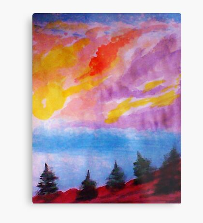 Colorful clouds over the pines, watercolor Metal Print