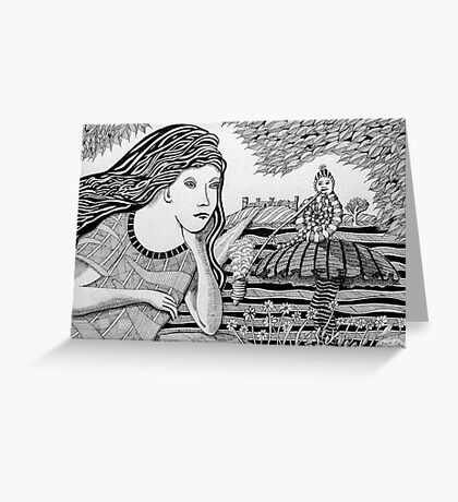 234 - ALICE MEETS THE CATERPILLAR - DAVE EDWARDS - INK - 2011 Greeting Card