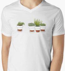 Succulent Cactus Print Men's V-Neck T-Shirt