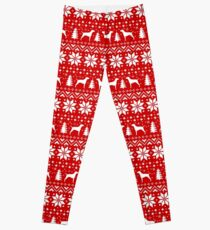 Vizsla Silhouettes Red and White Christmas Holiday Pattern Leggings