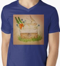 Spring Bunny Basket Mens V-Neck T-Shirt