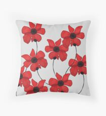 Delicate Red Flower Design Throw Pillow