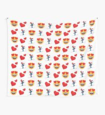Love Skiing Emoji JoyPixels Funny Skier Wall Tapestry