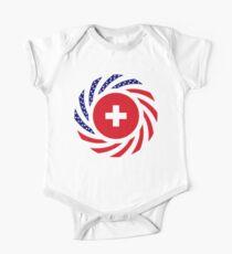 Swiss American Multinational Patriot Flag Series One Piece - Short Sleeve