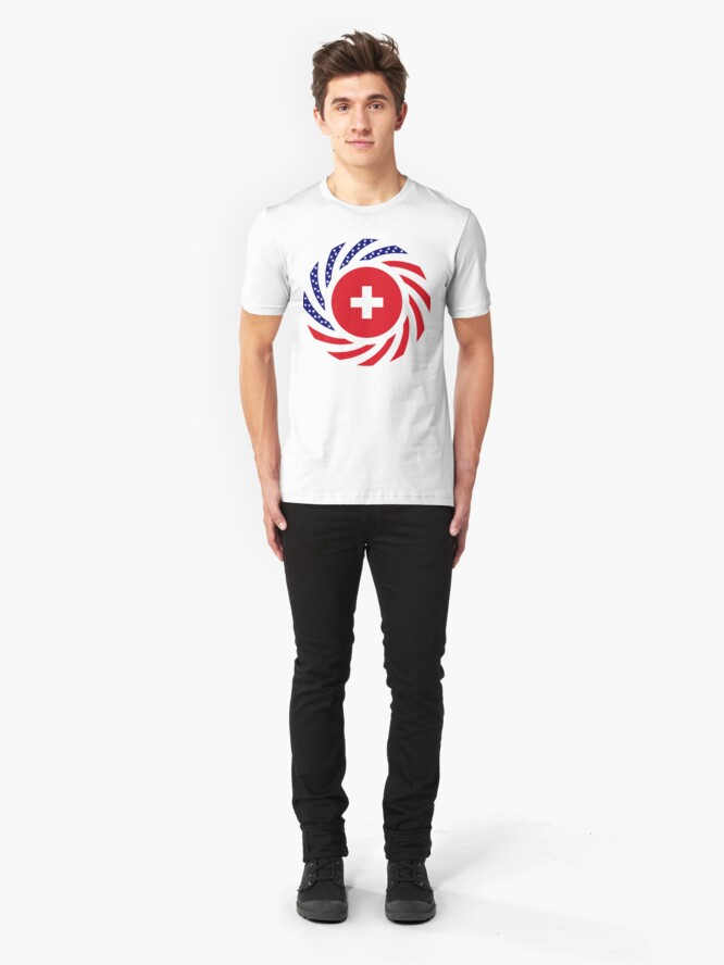 Alternate view of Swiss American Multinational Patriot Flag Series Slim Fit T-Shirt