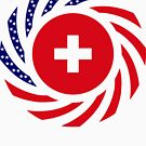 Swiss American Multinational Patriot Flag Series by Carbon-Fibre Media