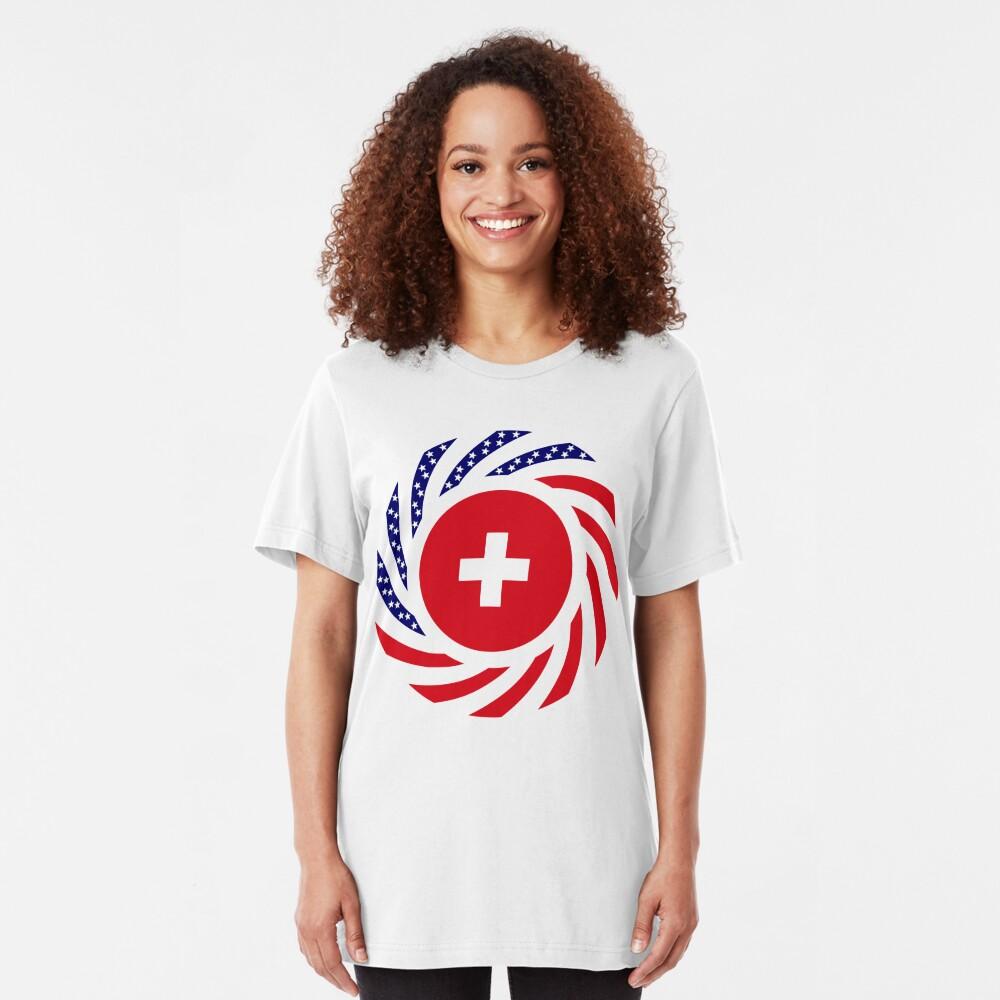 Swiss American Multinational Patriot Flag Series Slim Fit T-Shirt
