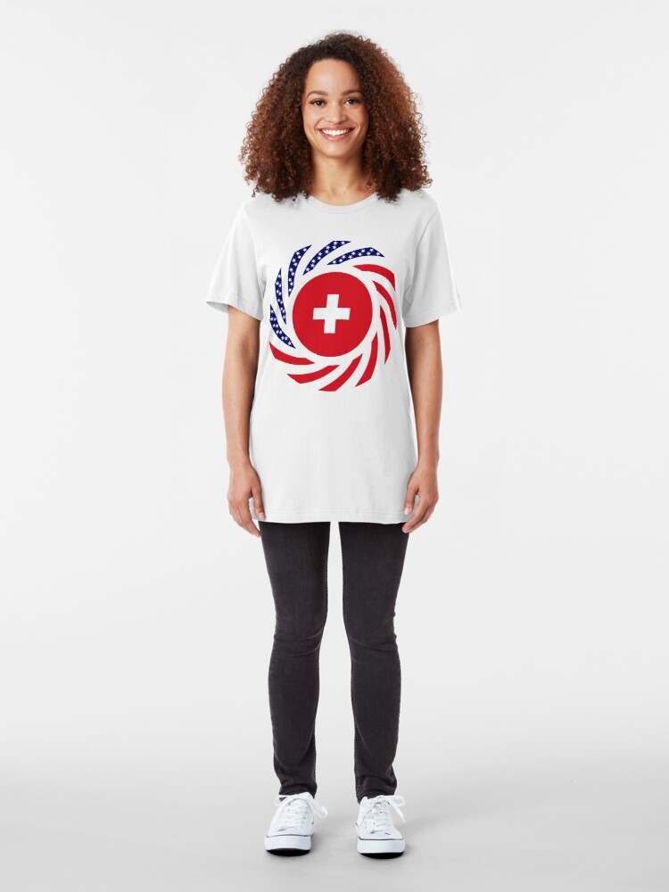 Alternate view of Swiss American Multinational Patriot Flag Series Slim Fit T-Shirt