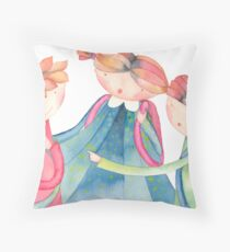 "group of schoolchildren,illustration of the story ""backpack"" Throw Pillow"