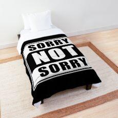 Sorry not Sorry Emoji JoyPixels Funny Girls White Comforter