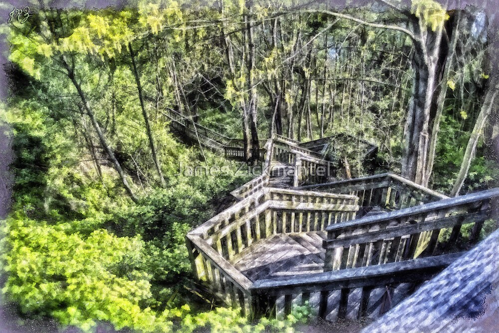Hidden Cliff Stairs (HDR - painted) by James Zickmantel