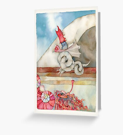 """the dragon is transformed into a statue of stone, illustration for story, """"dashi drangua"""" Greeting Card"""