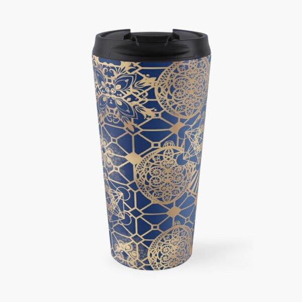 Gold Mandalas and Lace on Blue Travel Mug