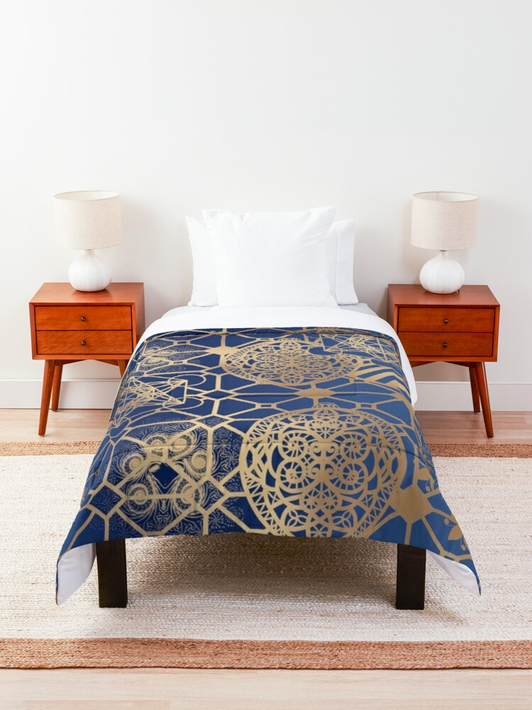 Alternate view of Gold Mandalas and Lace on Blue Comforter